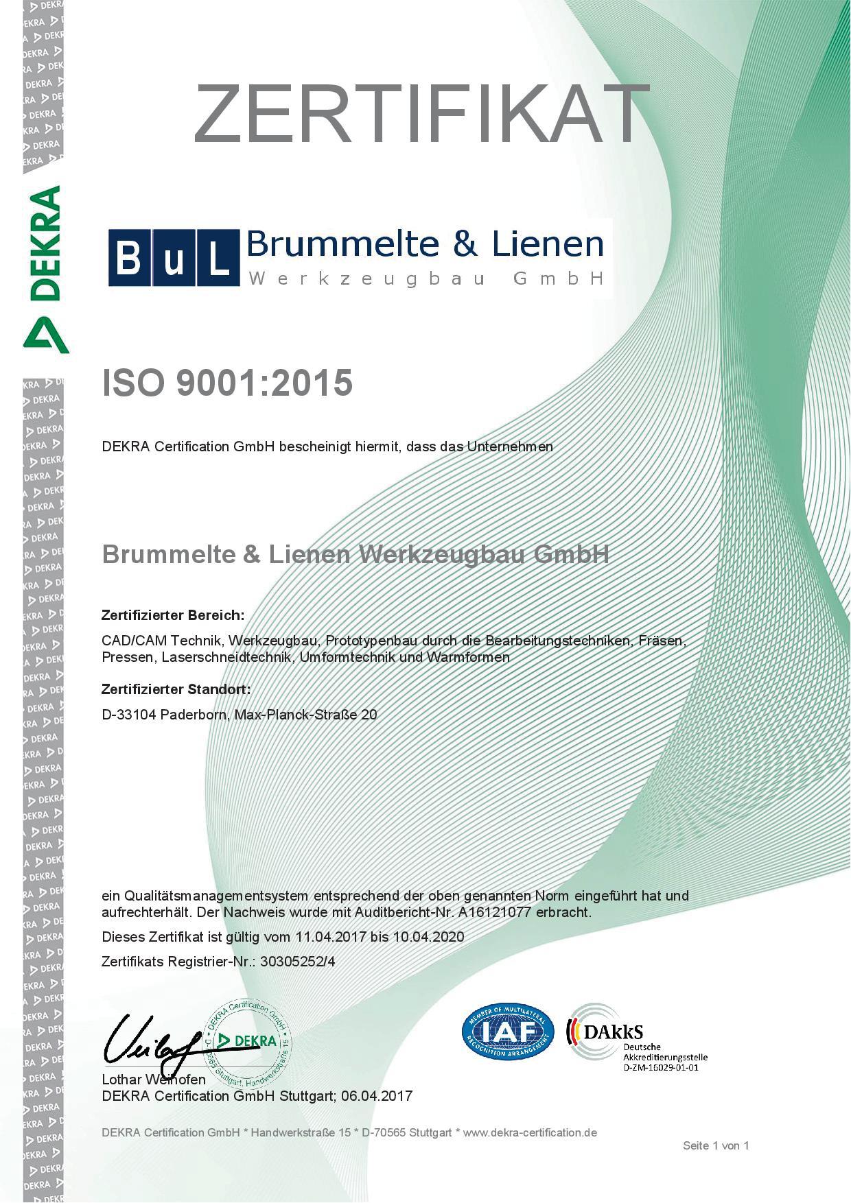 Dekra ISO 9001:2015